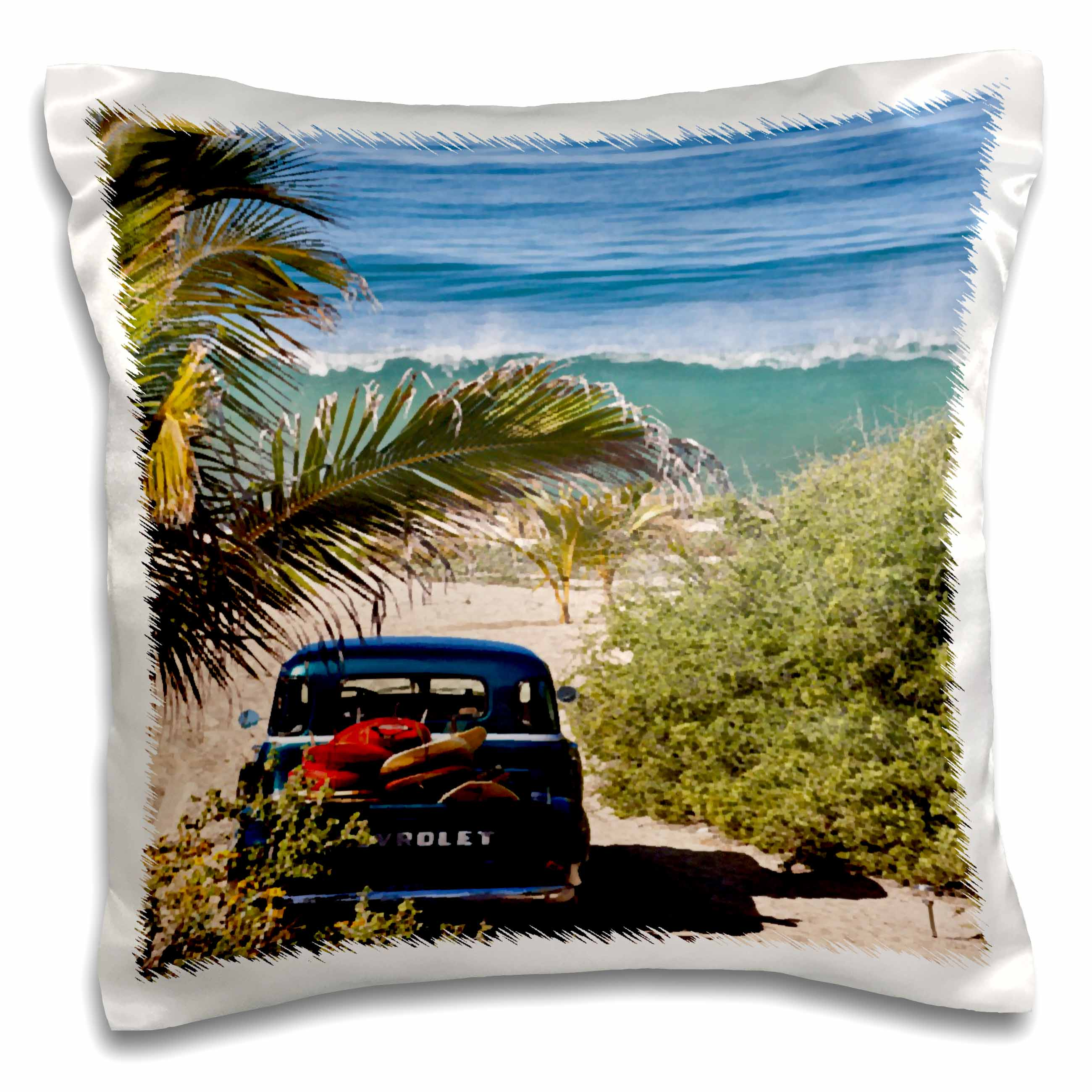 3dRose Classic Woody with surfboards on a tropical island beach - Pillow Case, 16 by 16-inch