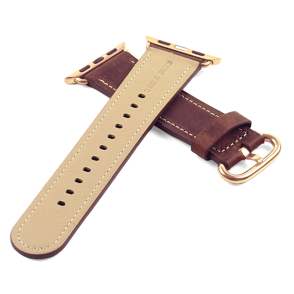 DASSARI Genuine Italian Vintage Leather iWatch Band Strap for Apple Watch w/ Yellow Gold Buckle 38mm 42mm - image 1 de 4