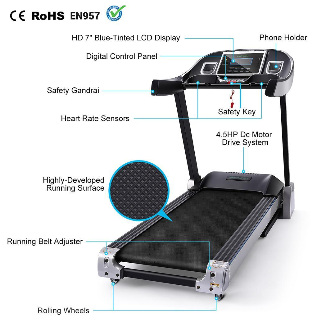 4.5HP Folding Electric Treadmill with Large Running Deck ...