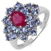 Malaika 2.54 Carat Genuine Ruby & Tanzanite .925 Sterling Silver Ring Size-6, Pink