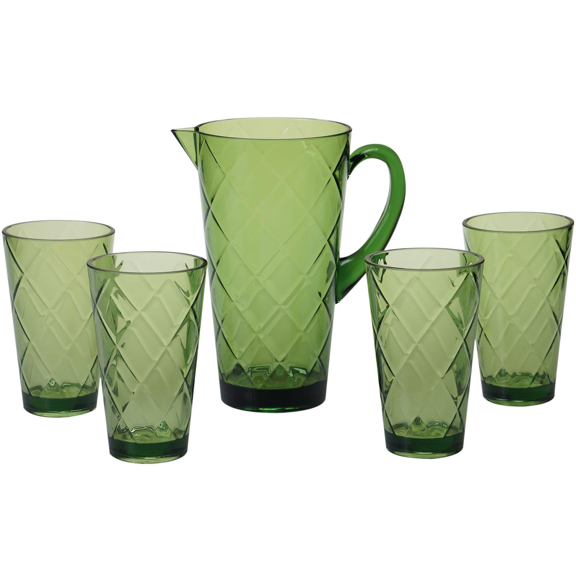 Certified International  Green Diamond Acrylic Drinkware (Pack of 5)