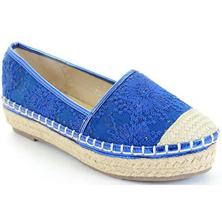 Blue Stitched Flower Canvas Cap Toe Stripes Espadrille Skimmer Loafer Flat