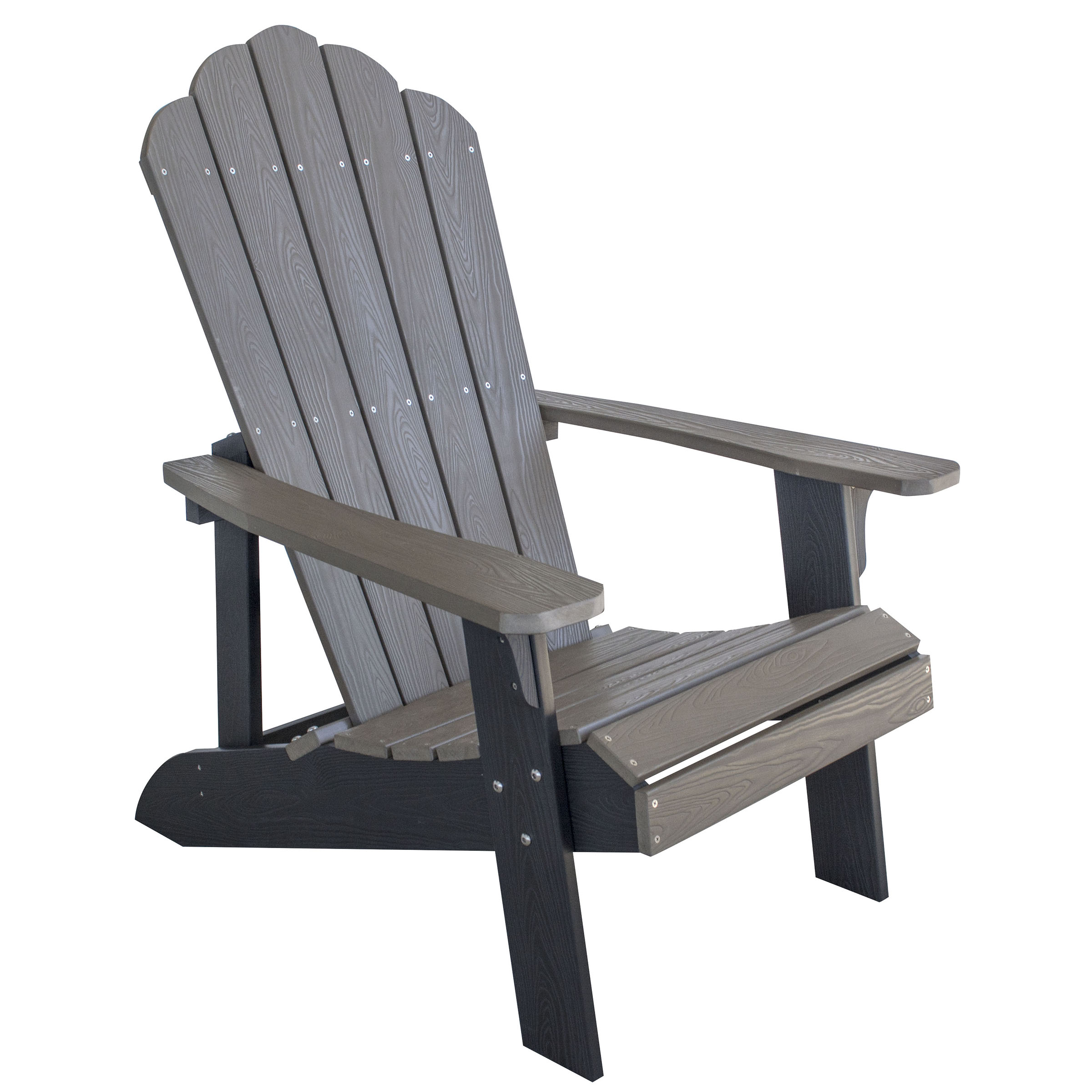 AmeriHome Outdoor Two Tone Adirondack Chair with Durable Simulated Wood Construction - Driftwood with Black Accents