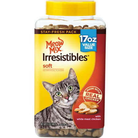 Meow Mix Irresistibles Cat Treats, Soft with White Meat Chicken, 17 oz. Canister ()