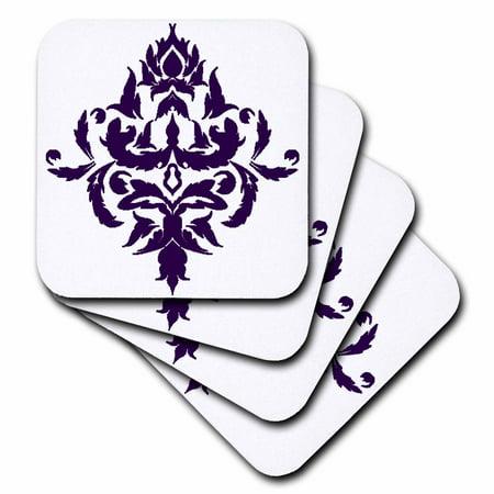 3dRose Large Purple Single Royal Damask, Ceramic Tile Coasters, set of 4