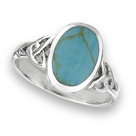 Wide Oval Simulated Turquoise Oxidized Ring New .925 Sterling Silver Celtic Band Size 8 Persian Turquoise Ring