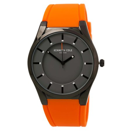 Kenneth Cole 10031354 Mens Classic Black Dial Black Ip Steel Orange Silicone Strap Watch