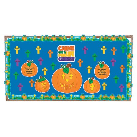 Halloween Bulletin Boards For Library (Fun Express - Carve Out A Life For Christ Bb Set for Halloween - Educational - Classroom Decorations - Bulletin Board Decor - Halloween - 26)