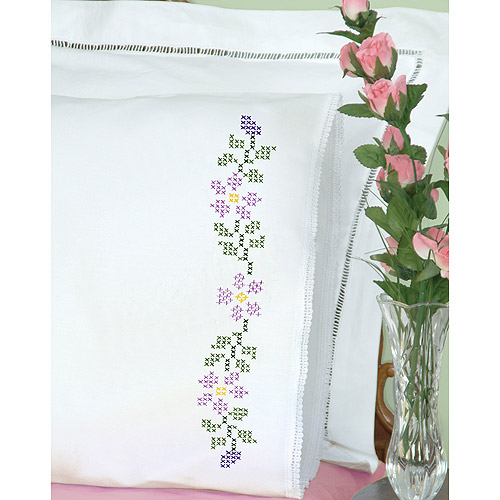 Jack Dempsey 1800 139 Stamped Pillowcases With White Lace Edge 2/Pkg-XX Starflowers