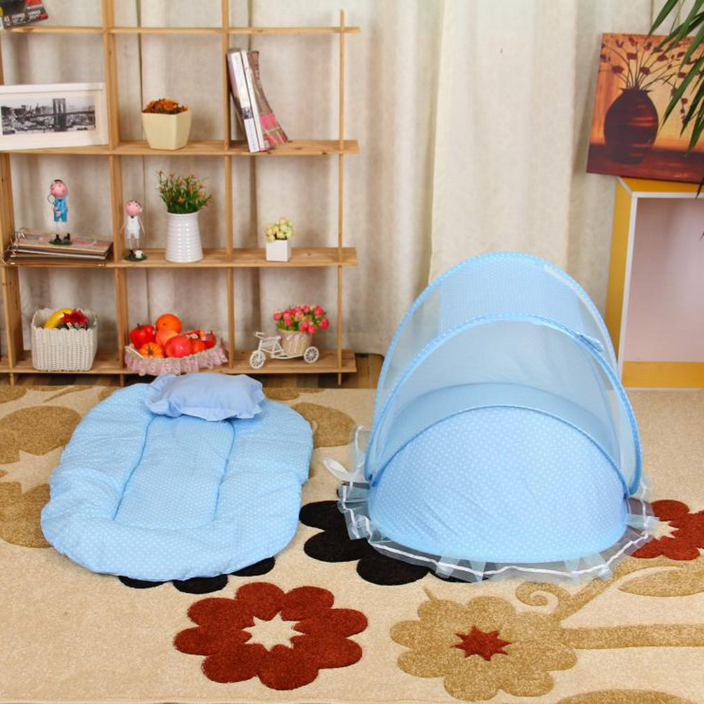 Portable Foldable Baby Kids Infant Bed Dot Zipper Canopy Mosquito Net Tent