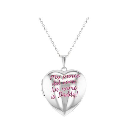 My Prince Did Come His Name is Daddy Pink Heart Locket Necklace for Girls 16