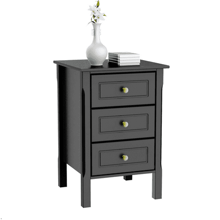 3 Drawers Nightstand Tall End Table Storage Wood Cabinet Bedroom
