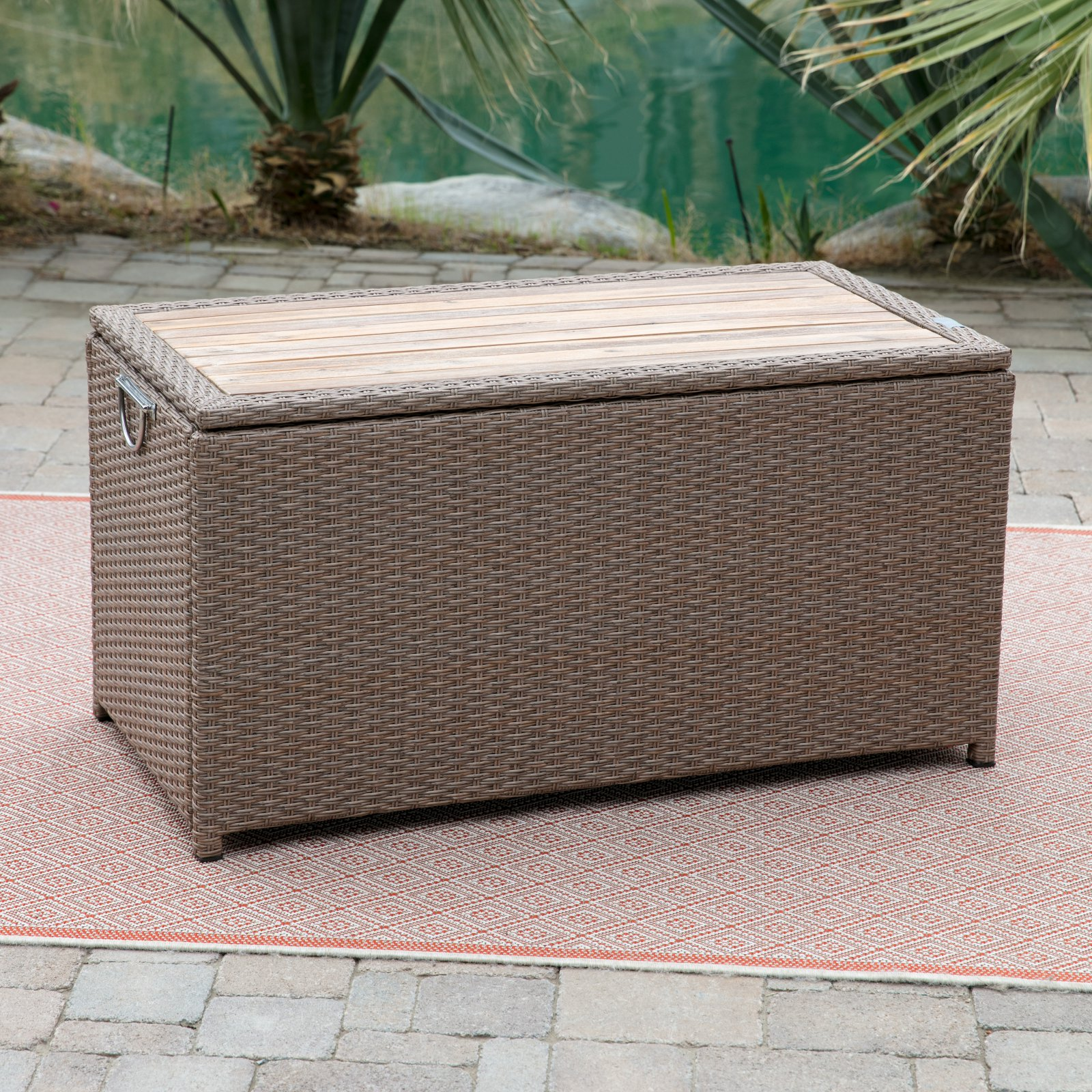 Belham Living Bayport Outdoor Storage Deck Box with Acacia Top by