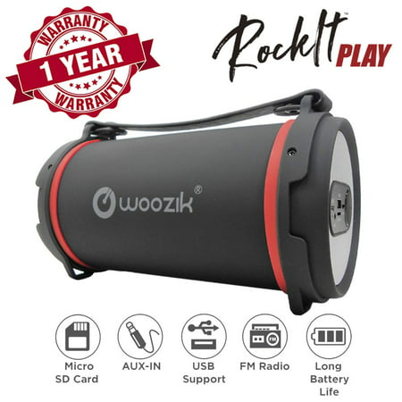 Woozik S22B Bluetooth Speaker - Best Outdoor/Indoor Portable Speaker with Back-Lit LED, FM Radio, and Carrying Strap -
