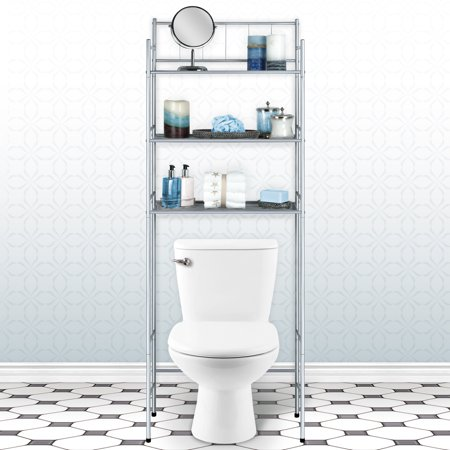 Home Collections 3 Shelf Over-the-Toilet Space Saver, Silver