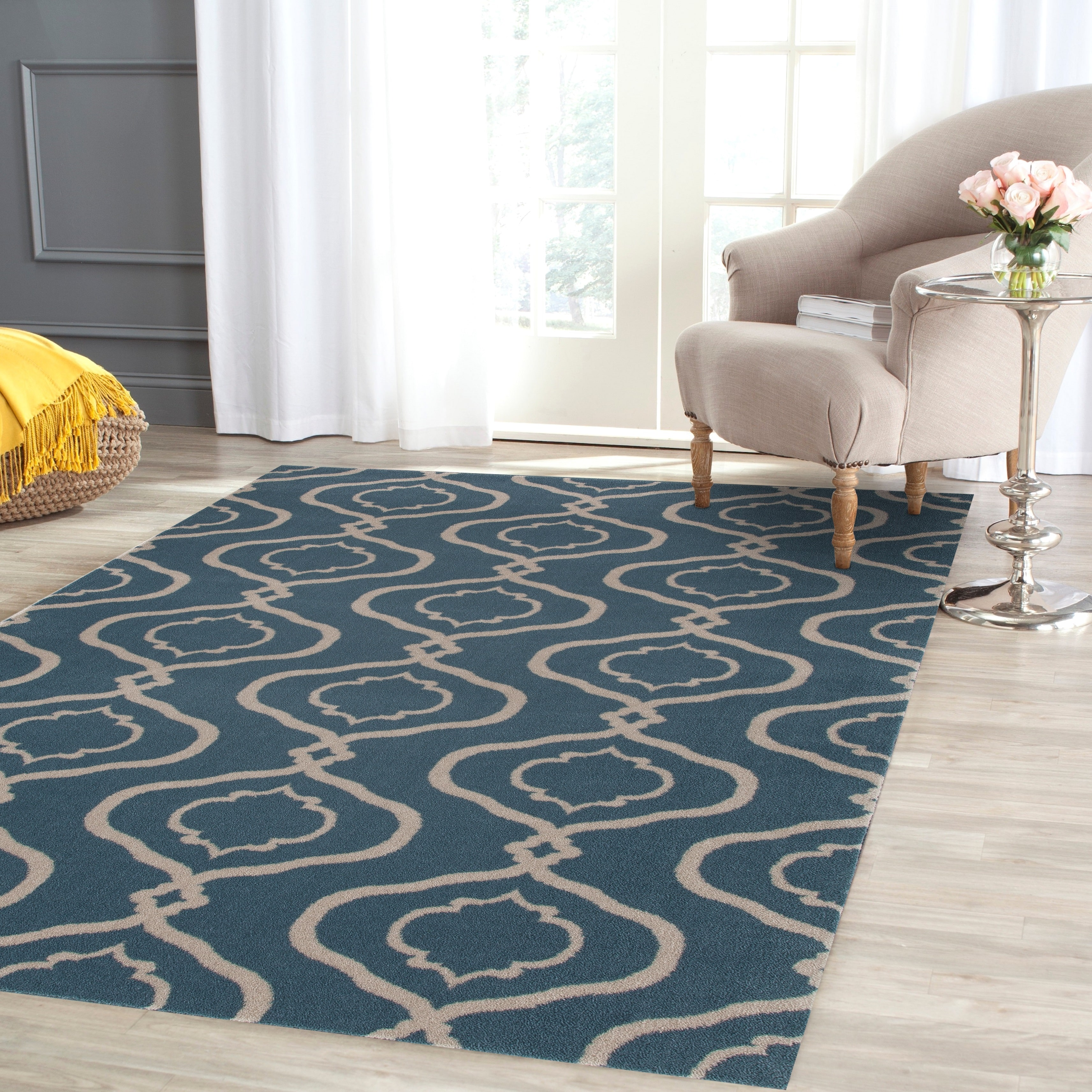 Moraccan Trellis Modern Blue Area Rug or Runner