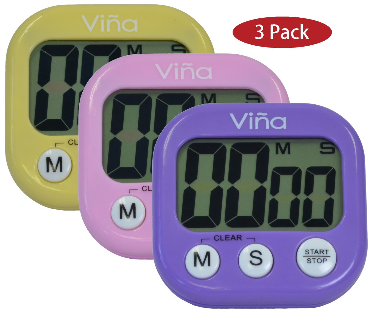"3 Pack, Vina Digital Kitchen Cooking Timer Loud Alarm Large 2.75"" LCD Display Magnetic Backing Stand 3... by Vina"