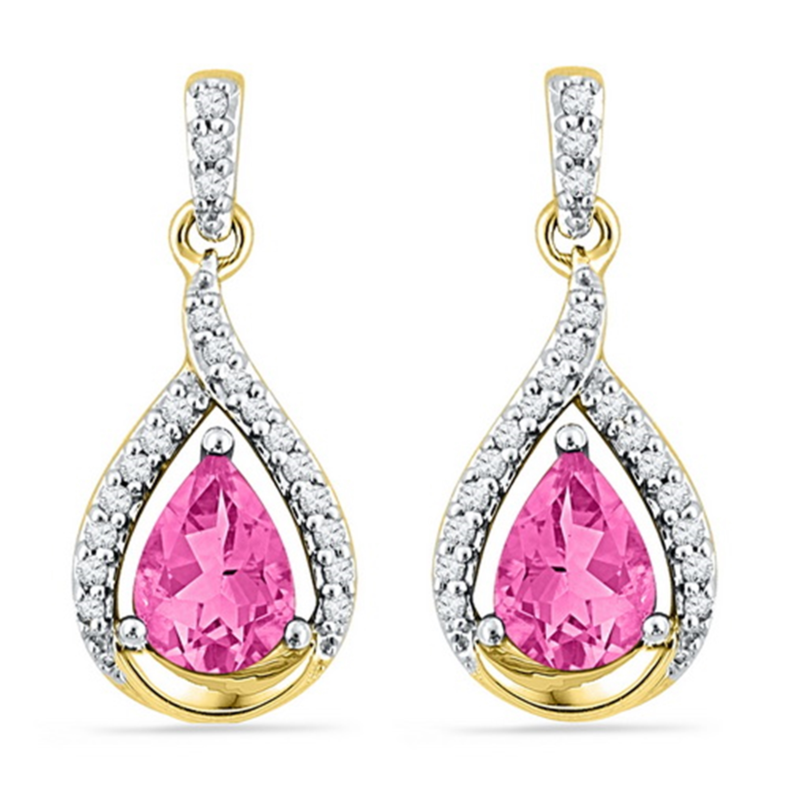 Lab-created Pink Sapphire Earrings with Genuine Diamond Accents 10k Yellow Gold by GND