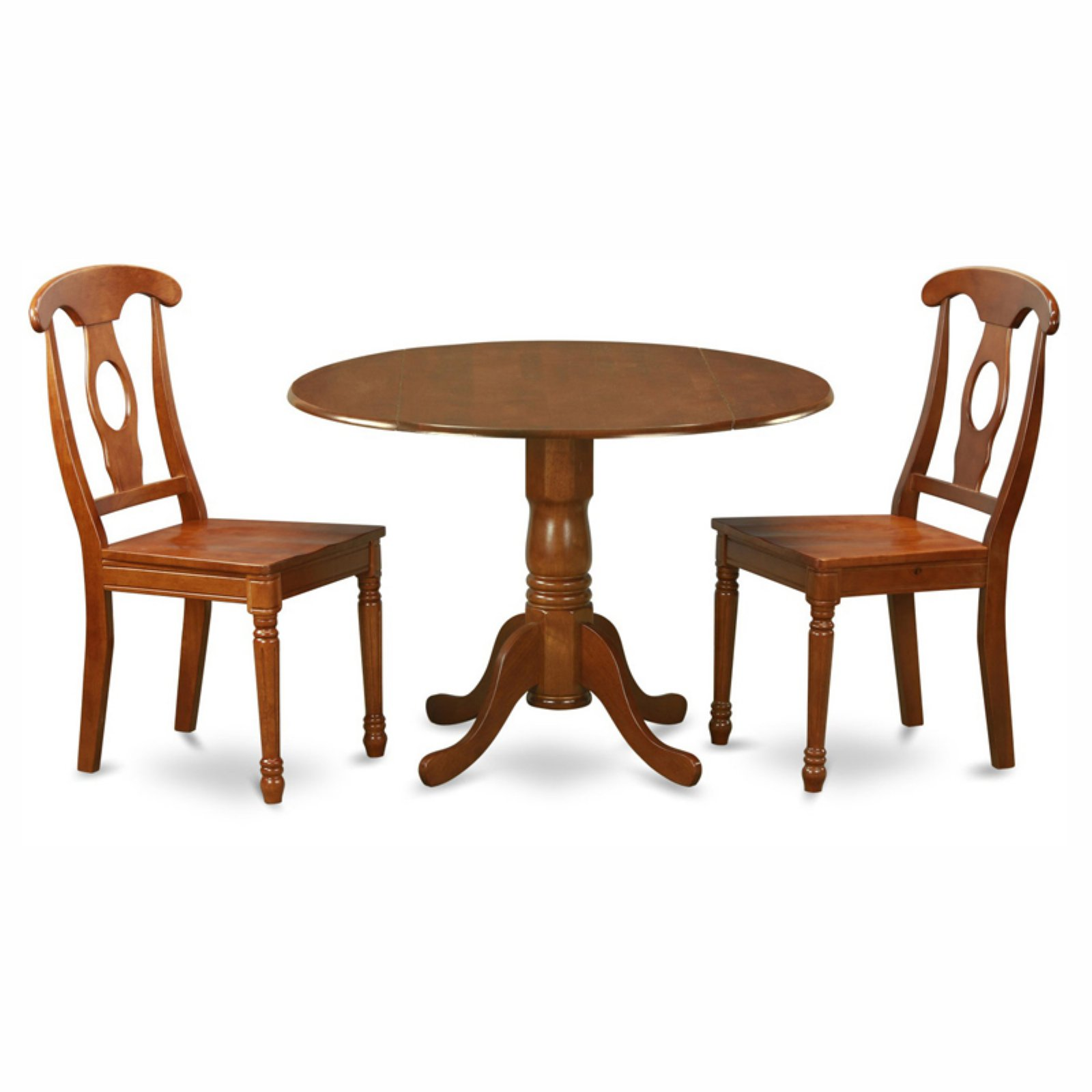 East West Furniture Dublin 3 Piece Drop Leaf Round Dining Table Set with Kenley Wooden Seat Chairs
