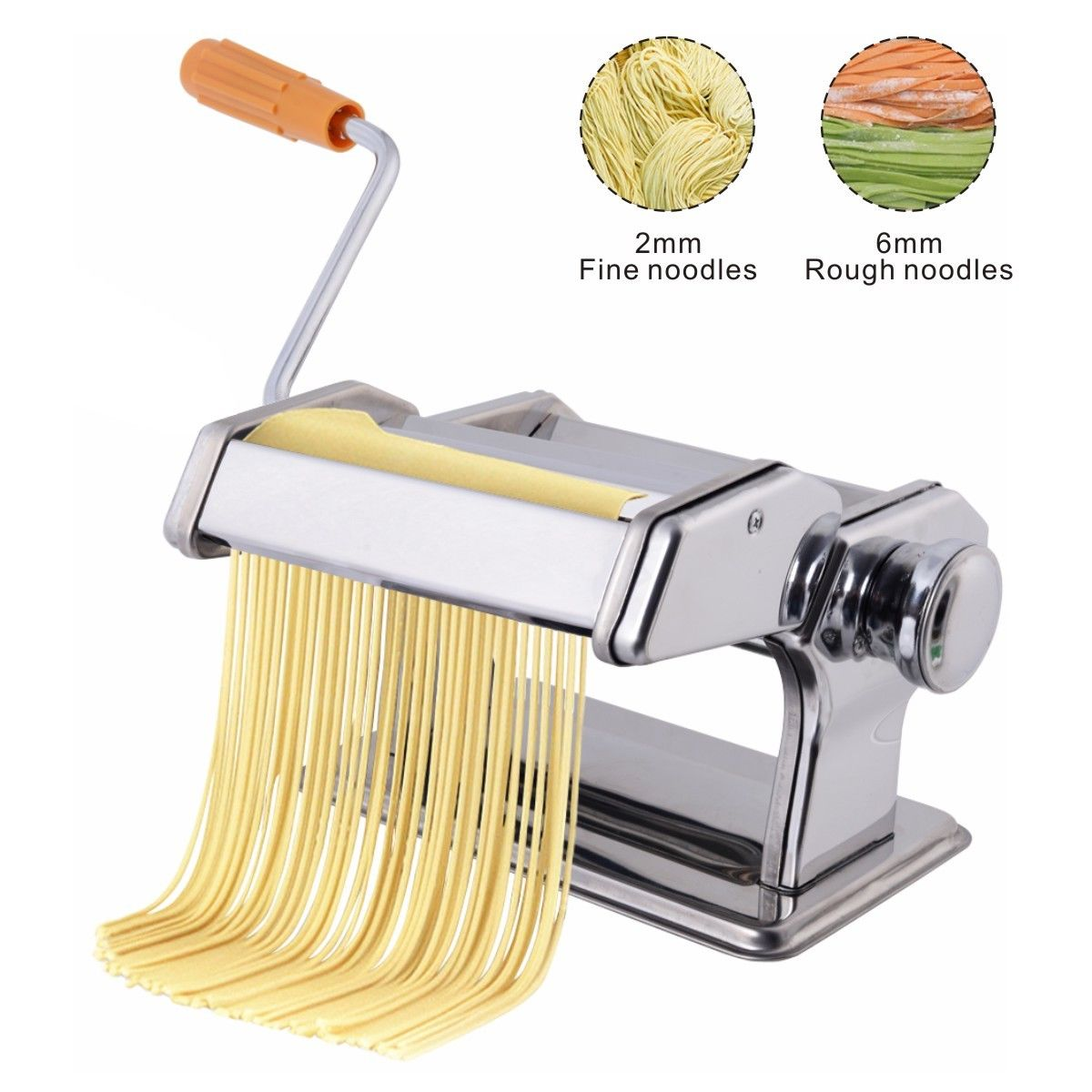 Costway Pasta Maker Roller Machine Fresh Noodle Spaghetti&Fettuccine Stainless Steel by Costway