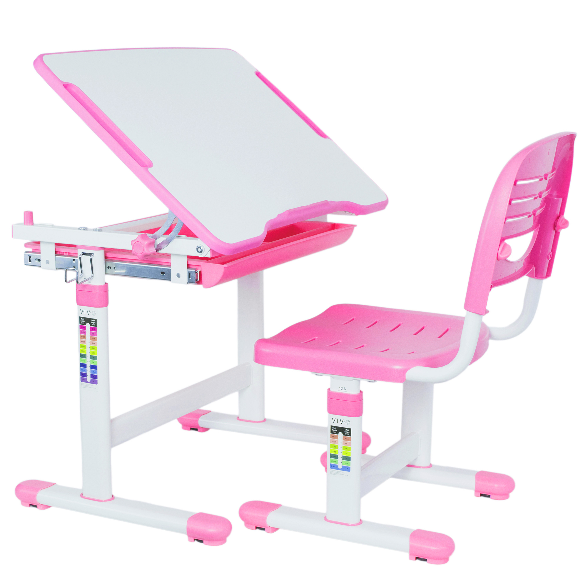 VIVO Height Adjustable Childrens Desk & Chair Kids Interactive Work Station Pink (DESK-V201P)