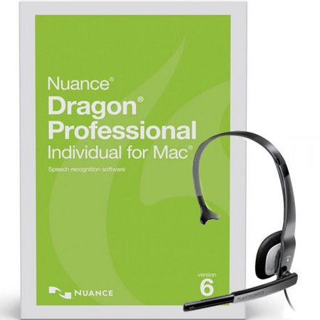 Nuance S601A-G00-6.0-HS Dragon Professional Individual for Mac Version 6 Speech Recognition Software with USB PC Noise Canceling