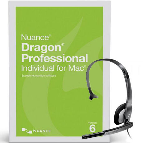 Nuance S601A-G00-6.0-HS Dragon Professional Individual for Mac Version 6 Speech Recognition Software with USB PC Noise Canceling Headsets