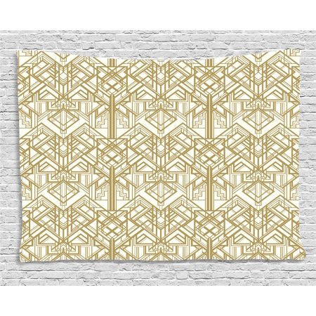 Geometric Tapestry, 1920s Style Futuristic Retro Mix Vertically Symmetrical Design, Wall Hanging for Bedroom Living Room Dorm Decor, 80W X 60L Inches, Pale Brown and Off White, by Ambesonne - 1920s Room Decor