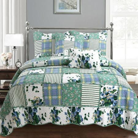 Cozy Line Home Fashions Inc Wakefield Country Floral Patchwork Cotton Quilt Set (Floral Cotton Quilt Set)