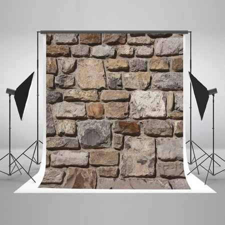 GreenDecor Polyster 5x7ft Retro Stone Backgrounds Brick Wall Vintage Photography Backdrop for Children Photo Booth Props - Stone Wall Background