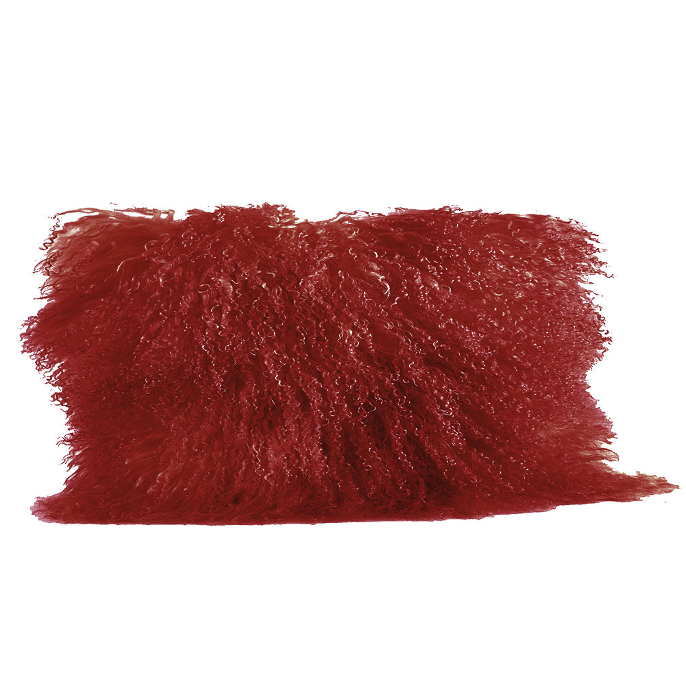"Pumpkin Orange Real Genuine Mongolian Lamb Fur Pillow, Includes Pillow Filling.  12"" x 20"" Rectangular."