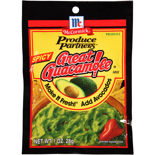 McCormick Produce Partners Spicy Great Guacamole Mix, 1 oz, (Pack of 12)