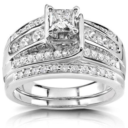 Princess Diamond  Wedding Ring Set 1 Carat (ctw) in 14K