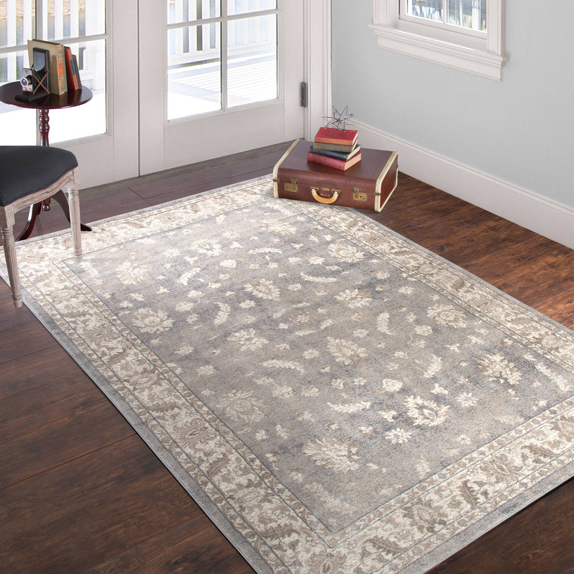 Somerset Home Vintage Floral Rug, Ivory Dark Grey by Trademark Global LLC