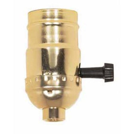 Bottom Turn Knob Socket - Brass Light Socket - Plated - 3-Terminal - 2 Circuit - Turn Knob - Medium Base Socket - 1/8 IPS - 90-421, Medium Base Complete Socket. By PLT Ship from US
