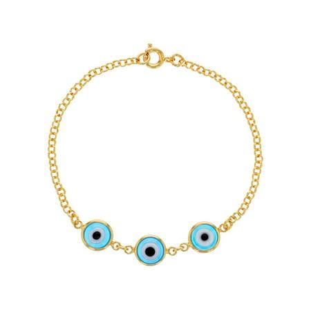 18k Gold Plated Light Blue Blue Turkish Evil Eye Protection Lady Bracelet 7