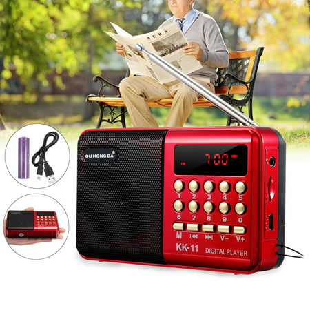 Mini Portable Radio LCD Digital FM Radio Receiver Telescopic Antenna Pocket Speaker Outdoor Speaker Battery Operated with Battery ,USB Cable (Digital Fm Pocket Radio)