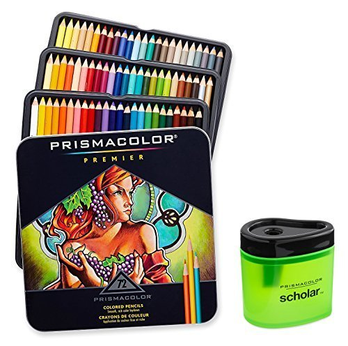 Prismacolor Premier Soft Core Colored Pencil, Set of 72 Assorted Colors + Scholar Colored Pencil Sharpener