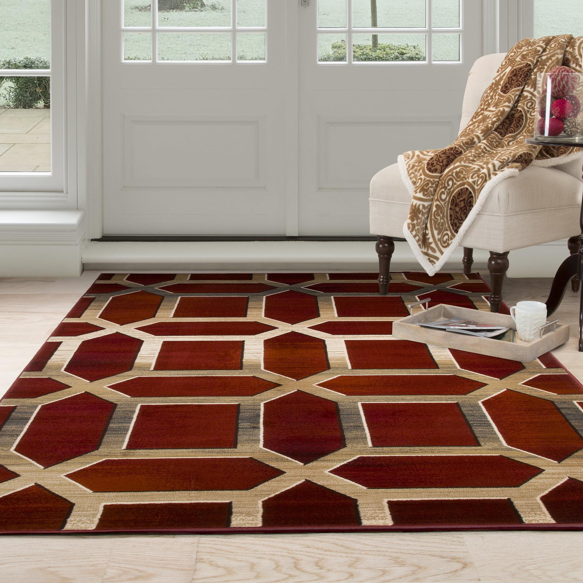 Lavish Home Opus Art Deco Area Rug 8 X 10 Burgundy Walmart