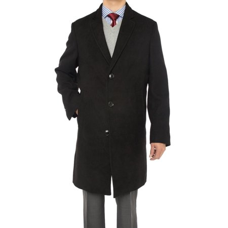 Luciano Natazzi Men's Trend Fit Overcoat Wool Blend Stretch Topcoat (T Tahari Wool Blend Belted Wrap Coat)