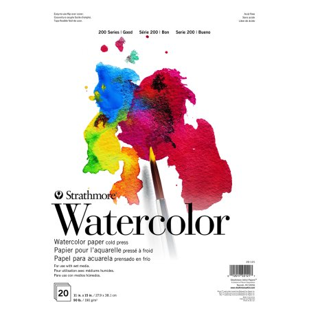 """Strathmore 200 Series 11"""" x 15"""" 15 Sheet Tape Bound Watercolor Paper Pad, 1 Each"""