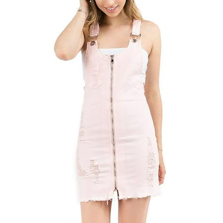 Womens Front Zip Up Distressed Denim Detail Frayed Hem Overall Dress RSDO-2037-S-Pink