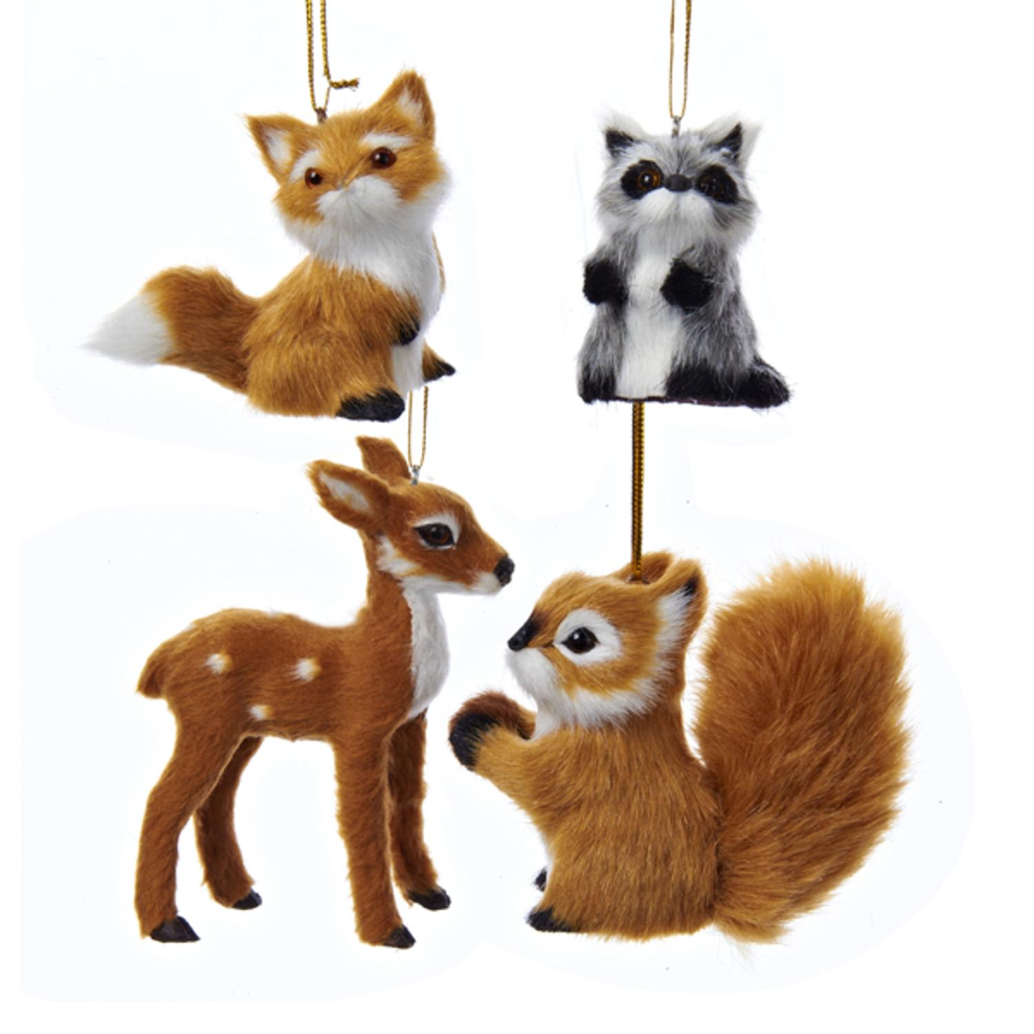 Club Pack of 12 Fox, Raccoon, Reindeer and Squirrel Plush Woodland Animal Christmas Ornaments 4''