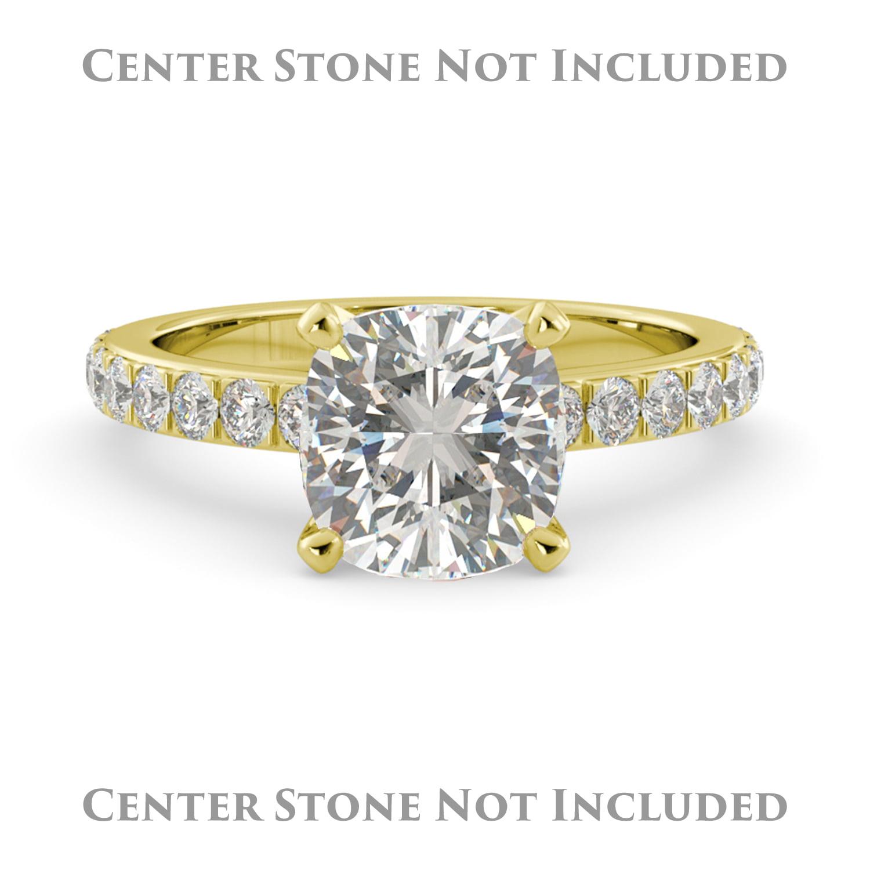 J&H Cushion Semi Mount Pave Round Real Diamond Engagement...