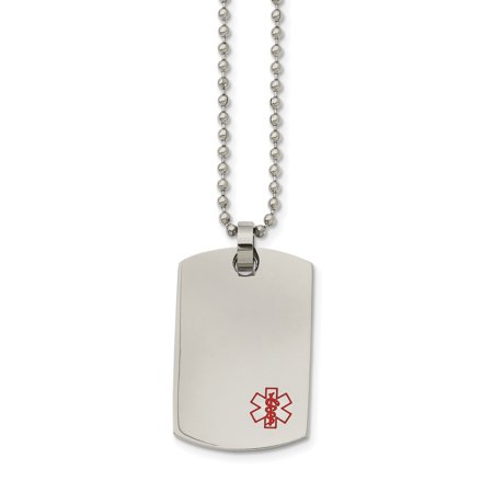 Stainless Steel Dog Tag Medical Pendant Necklace 24in - image 3 de 3