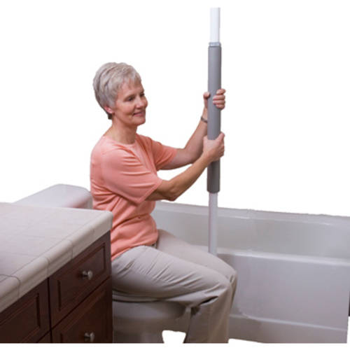 Stander Security Pole - Tension Mounted Elderly Transfer Pole + Bathroom Aids to Daily Living & Assist Grab Bar - Iceberg White