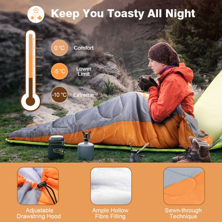 - LANGRIA Envelope Sleeping Bag, 3 Season Compact Sleeping Bags for Adults, Indoor/Outdoor Lightweight Sleeping Bag for Sleepover Camping Backpacking Hiking Festival with Compression Sack (Orange)