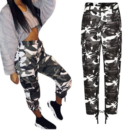 Women's Camo Cargo Trousers Casual Pants Military Army Combat Camouflage Print Long Pants Black Size S ()