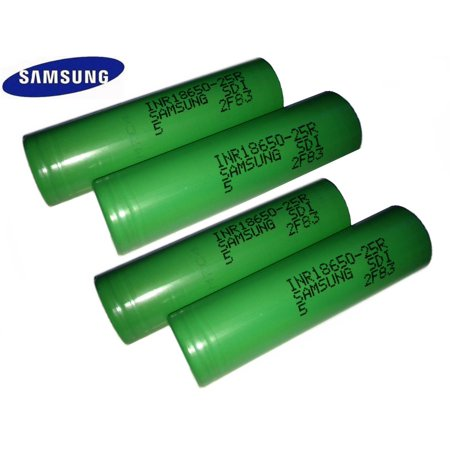 4 100% Authentic Samsung 25R 2500mAh 3.7V High Drain Flat Top 18650