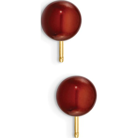 Round Coffee or jaune 14k FW Cultured Pearl Boucles d'oreilles (de 6to7x6to7mm) - image 1 de 3